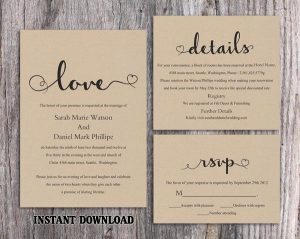 DIY Vintage Wedding Invitation Template