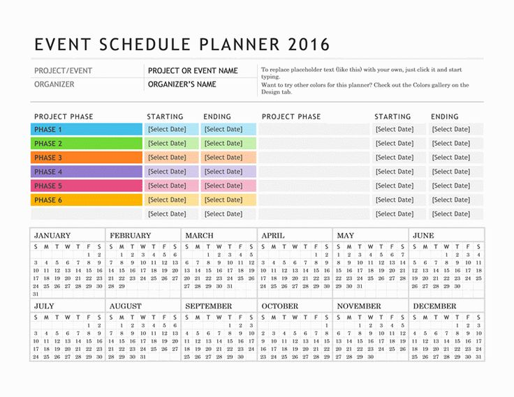 Events Holiday Schedule Template
