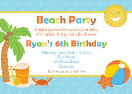 beach party invitation samples