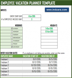 Staff Holiday Vacation Planner Schedule Template