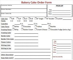 Bakery Order Template
