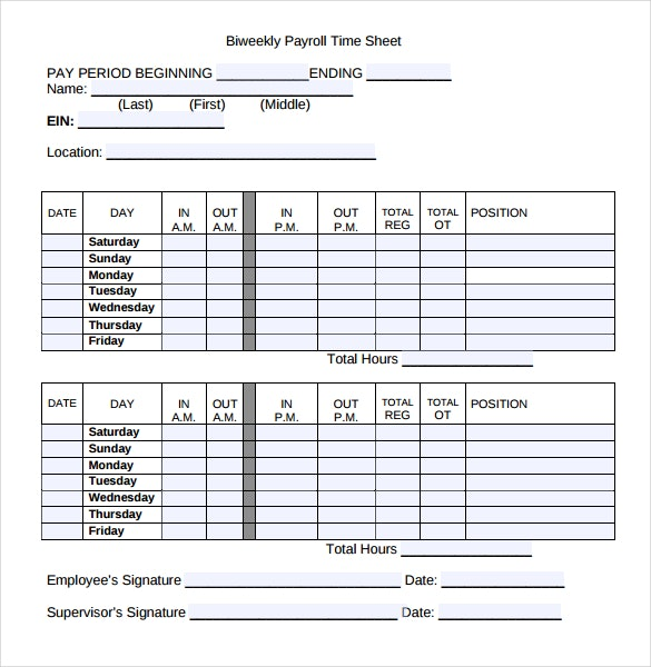 Bi-monthly payroll template