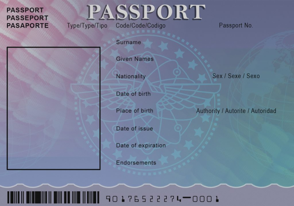 Blank abroad passport template