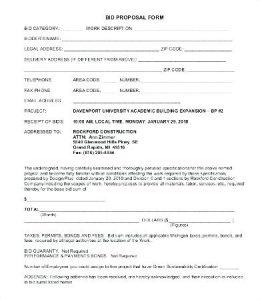 contractor bid proposal template