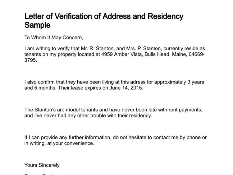 Letter Of Verification Address Verification Letter Format Address Verification Letter Format
