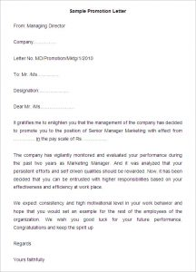 Employee promotion letter sample