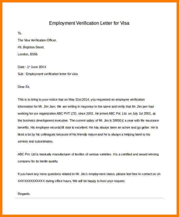 Employee verification letter for Visa