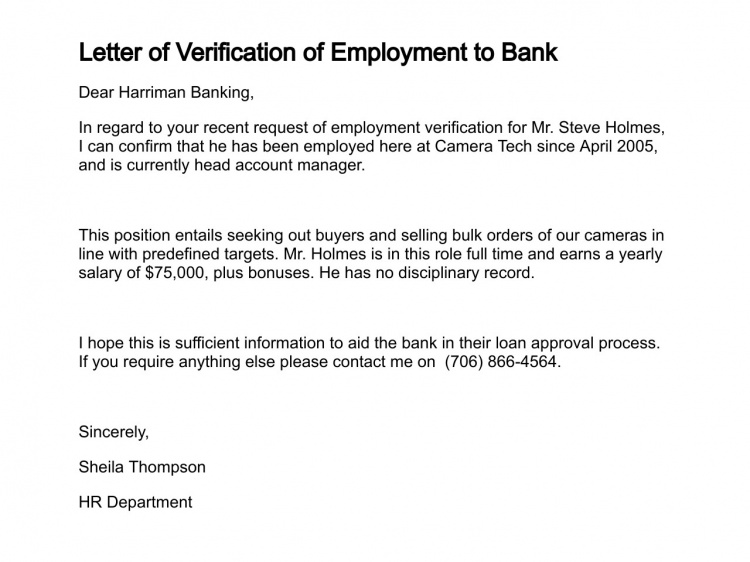 Employee verification letter template for bank