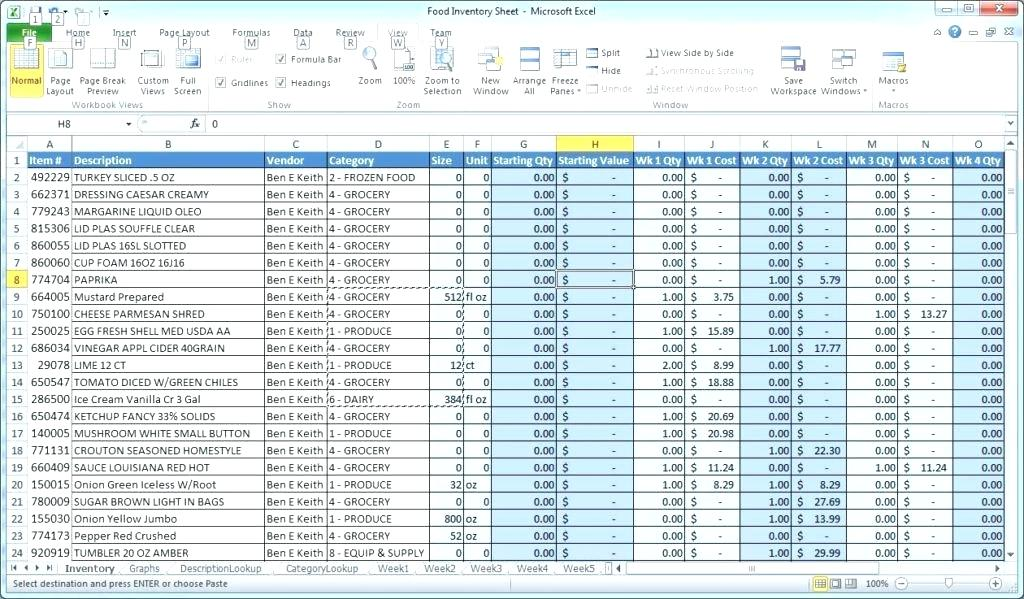 Excel stock inventory sheet template