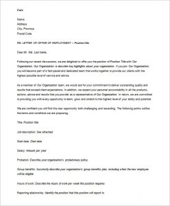 HR offer letters