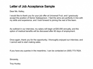 Job acceptance letter template