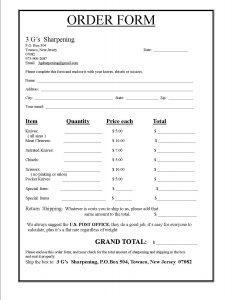 Menu of bakery order template