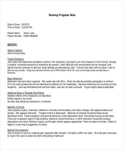 Nursing progress report template