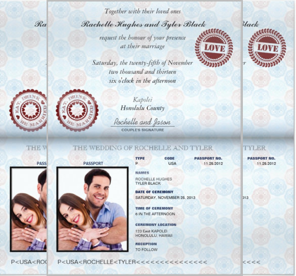 Passport style wedding set invitation template