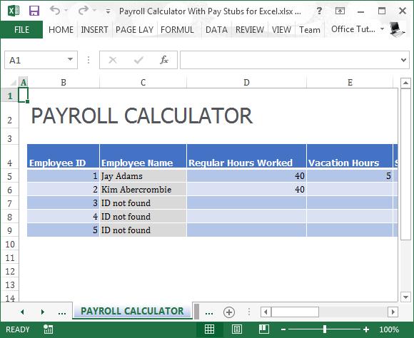 Payroll calculator template