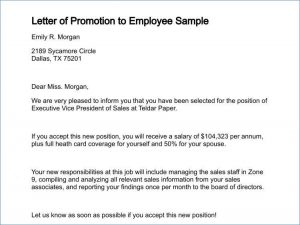 Promotion letter from employer template
