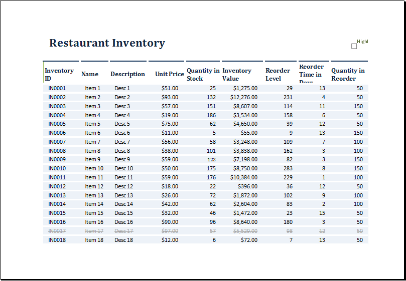 Free Printable Sample Of Restaurant Inventory Template