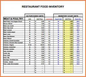Excel Templates Restaurant Inventory