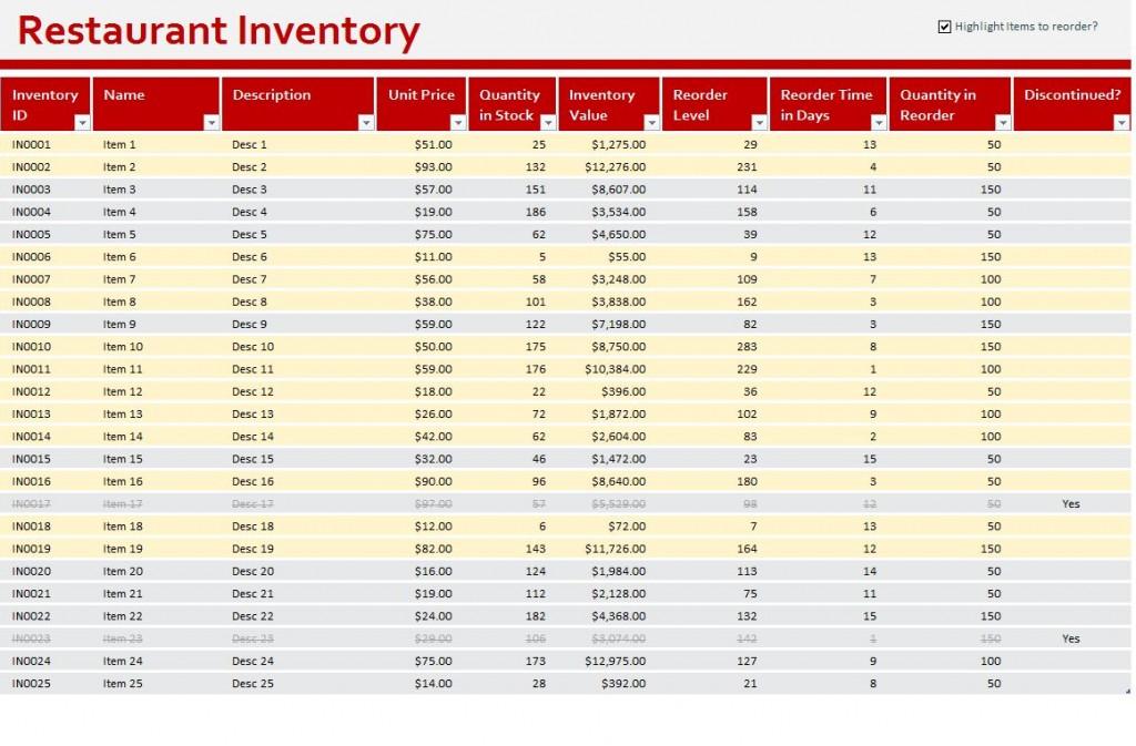 Restaurant inventory template download