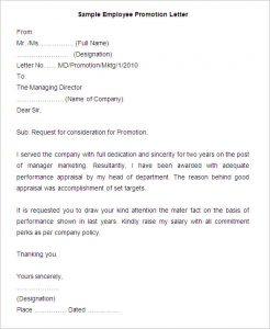 sample employee promotion letter templates