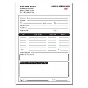 Sample bakery order form