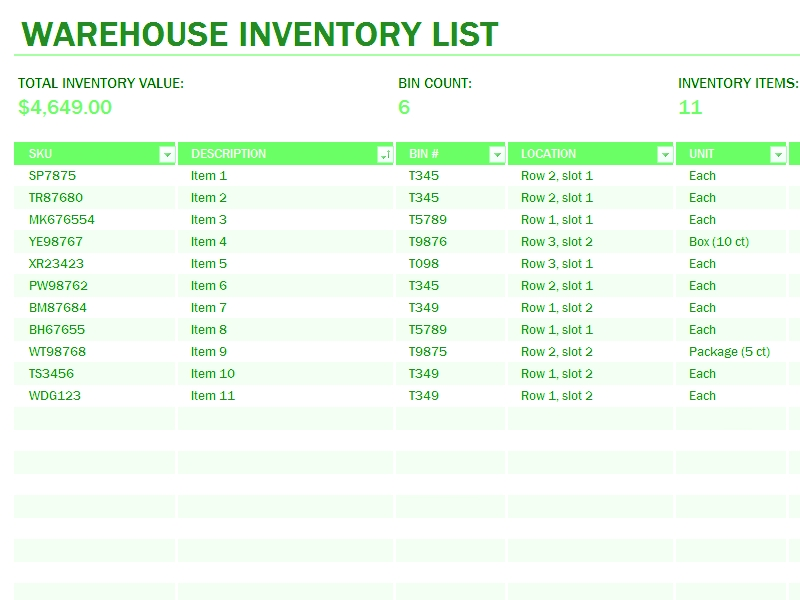 Free Excel Inventory Spreadsheet Templates Download Warehouse Inventory Excel Spreadsheet Sample