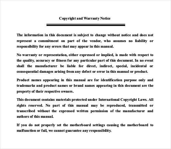 copyright warranty notice