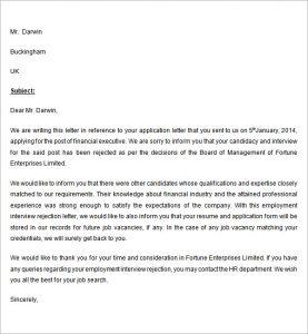hr rejection letter