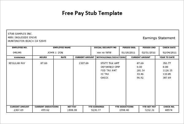 pay stub deduction templates