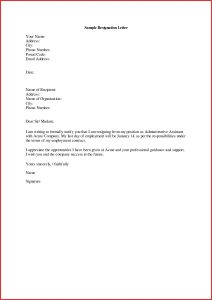 sample resignation letter templates