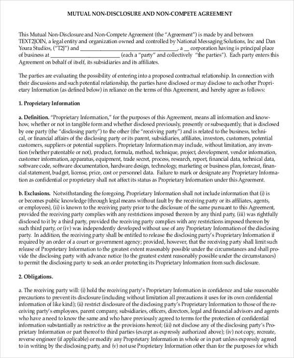 Attorney non-compete agreement template
