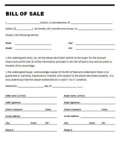 Bill Of Sale Form Texas