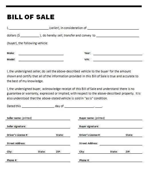 Bill Of Sale Form Texas