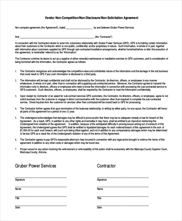 Contractor non-compete agreement template