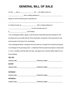 General Bill of Sale Form