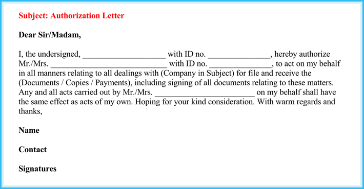 Sample Letter Of Authorization To Act On Behalf