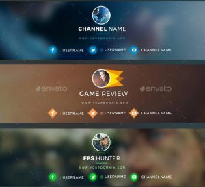 YouTube Channel Banner Templates psd