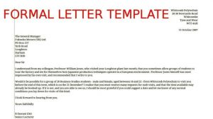 formal letter templates