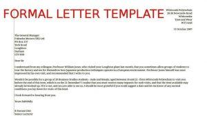 formal letter templates