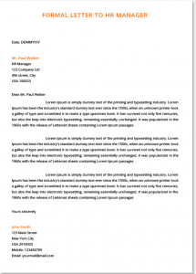 formal letter to hr manager