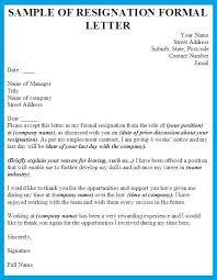 sample of resignation formal letter
