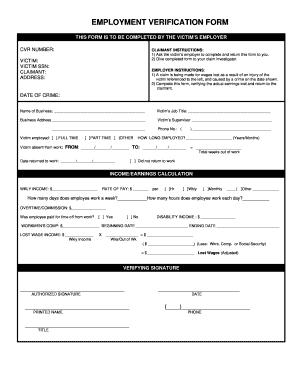Employment Verification Form