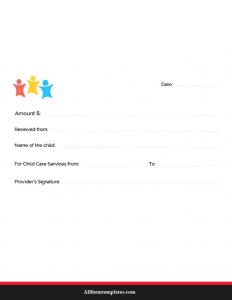 Child Care Receipt Template PDF