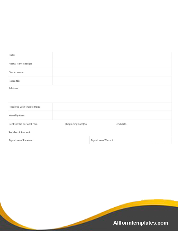 Sample Rent Receipts Template