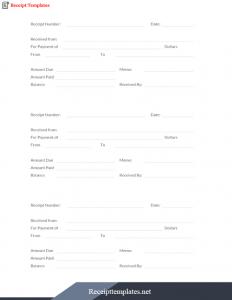 Credit Card Receipts Templates PDF