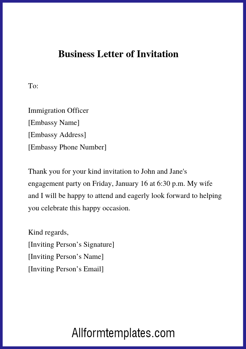Business Letter Of Invitation Sample