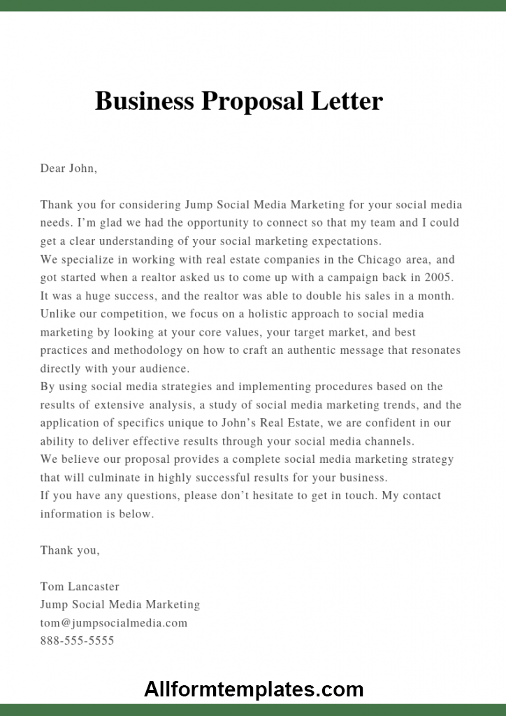 Sample Business Proposal Letter For Services
