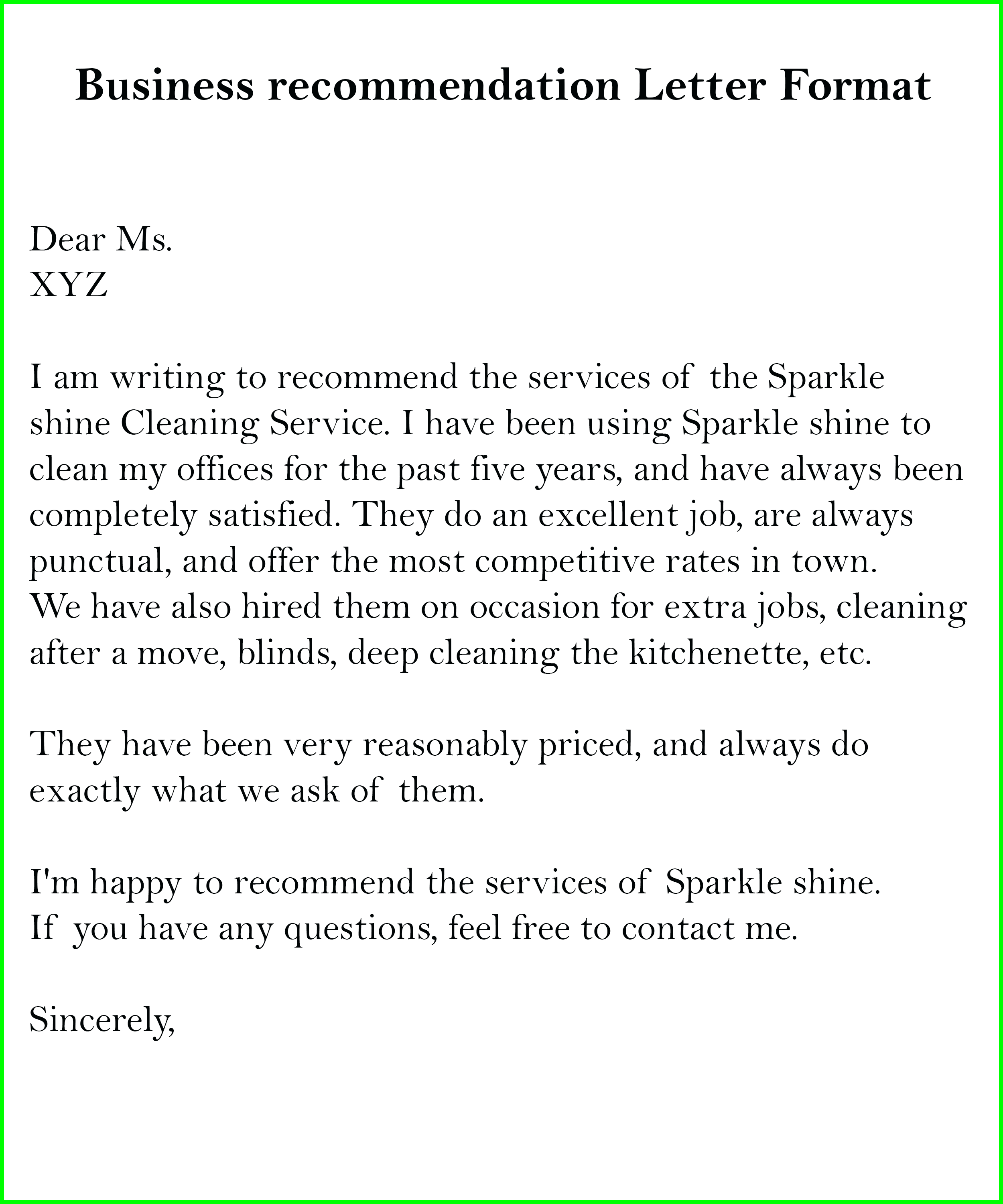 Business Letter of Recommendation Sample