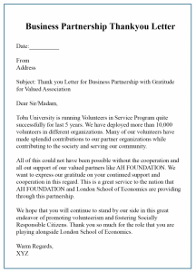 Thank You Letter For Business Partnership Template