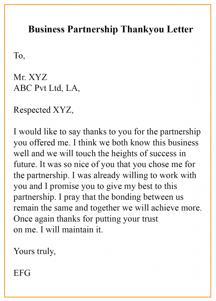 Thank You Letter For Potential Business Partnership